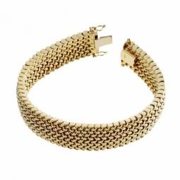 Bracelet en or jaune, maille tissée