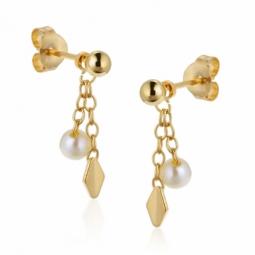 Boucles d'oreilles en or jaune et perles de culture d'eau douce.