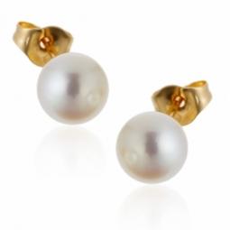 Boucles d'oreilles en or jaune, perle de culture d'eau douce.
