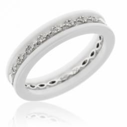 Demi alliance or gris, diamants et céramique blanche