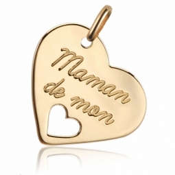 Pendentif en or jaune, coeur maman de mon coeur