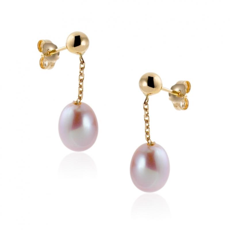 achat boucles d 39 oreilles femme or jaune g perle de. Black Bedroom Furniture Sets. Home Design Ideas