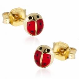 Boucles d'oreilles en or jaune, coccinelle laque rouge.