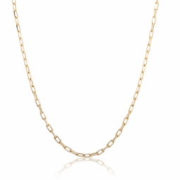 Collier en or jaune, maille forçat claire diamantée