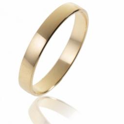 Alliance demi bombée en or jaune, largeur 3,5 mm