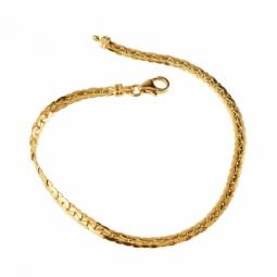Bracelet en or jaune maille forçat haricot