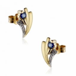 Boucles d'oreilles en or rhodié, saphir