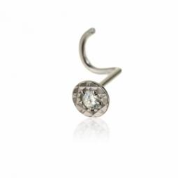 Piercing de nez en or gris et diamant