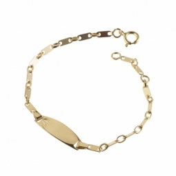 Bracelet identité en or jaune, maille plaquette