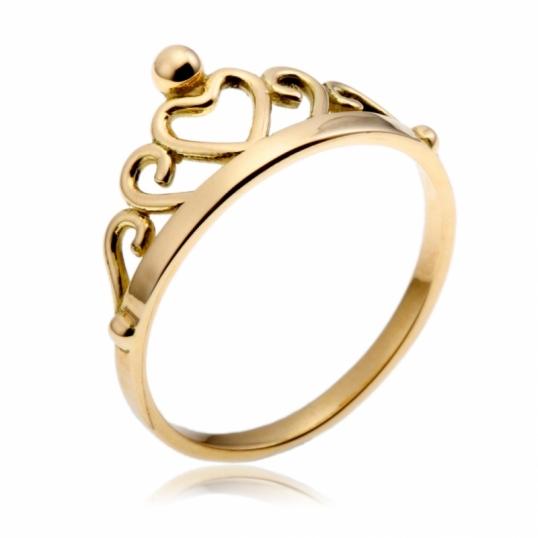 super pas cher se compare à haut de gamme véritable dernière vente Bague en or jaune, motif couronne