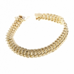 Bracelet en or jaune,  maille americaine 9.4 mm - 9.8 mm