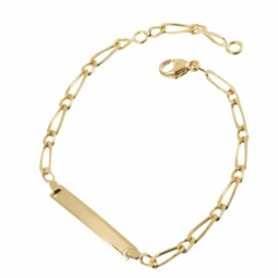 Bracelet identité en or jaune, maille cheval alternée 1X1