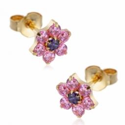 Boucles d'oreilles en or jaune, oxydes de zirconium rose et violet.