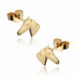 Boucles d'oreilles en or jaune, tête de cheval.