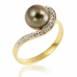 Bague en or rhodié, perle de culture de Tahiti et diamant
