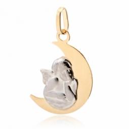 Médaille en or jaune lune et ange en or gris
