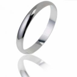 Alliance demi jonc en or gris, largeur 2,5 mm