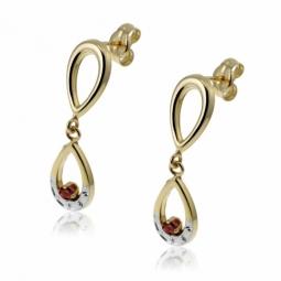 Boucles d'oreilles en or jaune rhodié, rubis.
