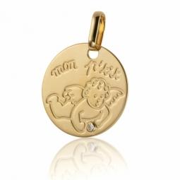 Médaille en or jaune et diamant