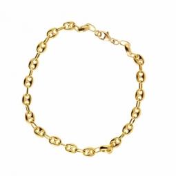 Bracelet en or jaune, maille grain de café