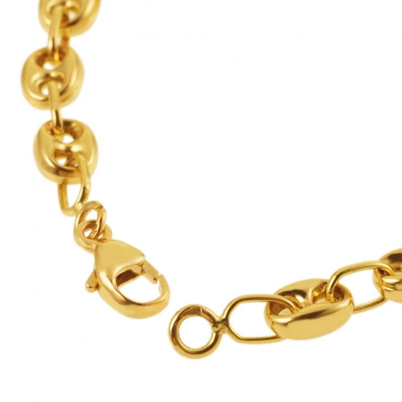 Bracelet homme or jaune grain de cafe