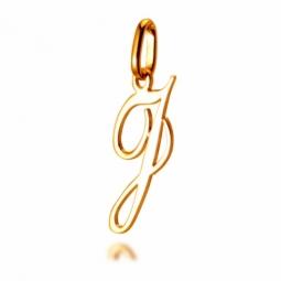 Pendentif alphabet en or jaune, lettre J