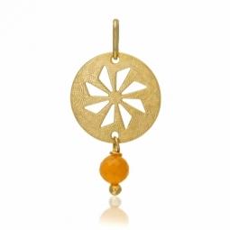 Pendentif en or jaune, pierre de lune orange