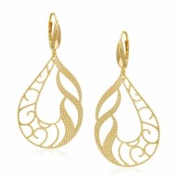 Boucles d'oreilles en or jaune, motifs ajourés mats et diamantés