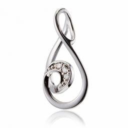 Pendentif en or gris, goutte diamants