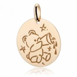Médaille zodiaque en or jaune, verseau