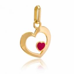 Pendentif en or jaune, coeur et laque rouge