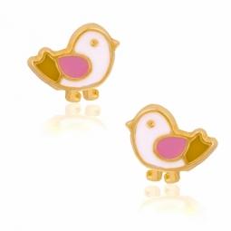Boucles d'oreilles en or jaune et laque, oiseaux