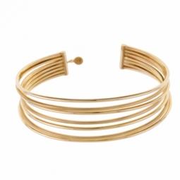 Bracelet jonc en or jaune multifils mate et lisse