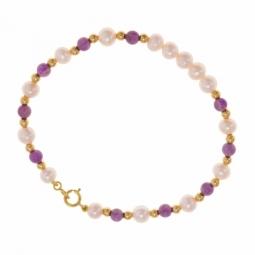 Bracelet en or jaune, perles de culture semi rondes et boules améthystes