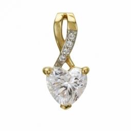 Pendentif en or jaune rhodié et oxydes de zirconium, coeur