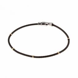 Bracelet en or jaune et cable acier