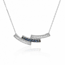 Collier en or gris, saphirs et diamants