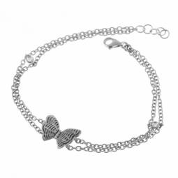Bracelet en or gris et diamants, papillon