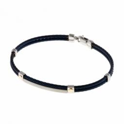 Bracelet jonc en or jaune, acier et cable acier