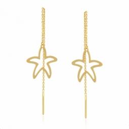 Boucles en or jaune, étoile de mer