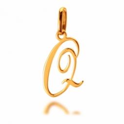 Pendentif alphabet en or jaune, lettre Q