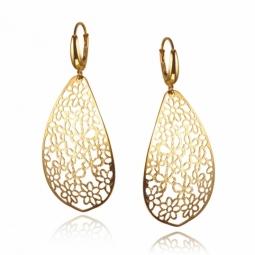 Boucles d'oreilles en or jaune, motifs ajourés