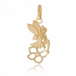 Pendentif en or jaune et oxyde de zirconium, fée