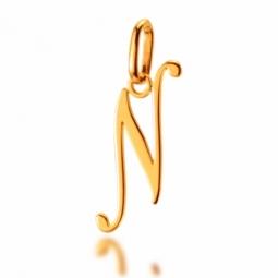 Pendentif alphabet en or jaune, lettre N