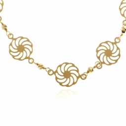 Collier en or jaune, motifs spirales et boules