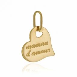 Pendentif en or jaune, coeur maman d'amour