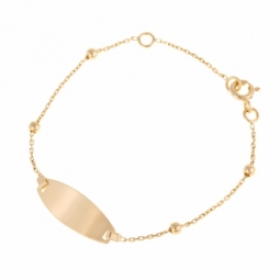 Bracelet identité en or jaune, boules or, plaque ovale
