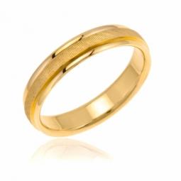 Alliance en or jaune, mate et lisse 4 mm