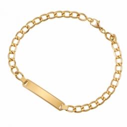 Bracelet identité en or jaune, maille gourmette