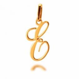 Pendentif alphabet en or jaune, lettre E